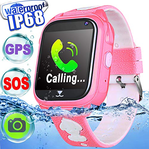IP68 Waterproof Kid Smart Watch Phone GPS Tracker Touch Screen Smartwatch 3-12 Year Girls Boys Holiday Birthday Gift Game Watch Positioning SOS Camera Anti-Lost Chat Live Mobile App for iOS/Android ()