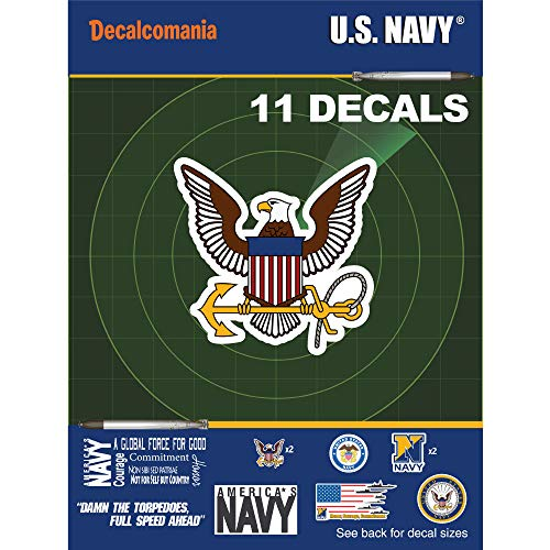 """United States Navy - 11 Piece USN Licensed Stickers for Car Truck Windows, Phones, Tablets, Laptops - Large Military Decals from 1"""" to 6.7"""" Car Decals Military"""