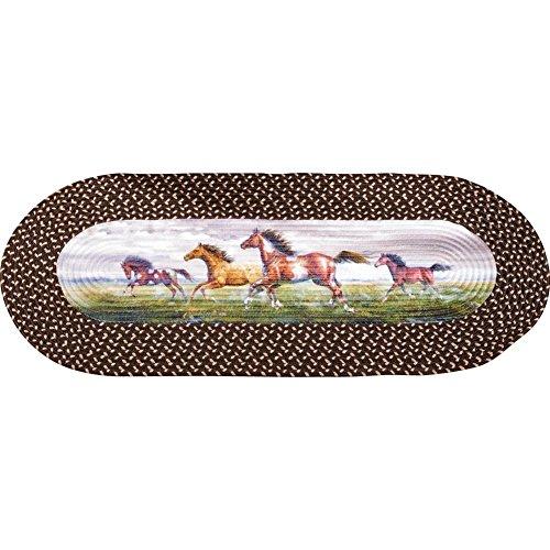 (Western Running Horses Braided Rug Runner, Spot Clean, Polyester)