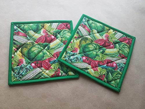 Garden Bounty Potholders Set of 2 Gardening Kitchen Linens Vegetable Harvest Home Decor Handmade Hot Pads Pair Insulated Trivets Tomatoes Lettuce Corn Melons Handmade Kitchen Decor Gifts Under 20