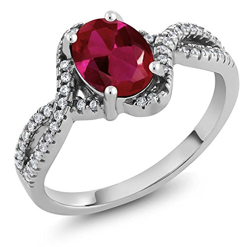 Collection Shine Star Lab (2.13 Ct Oval Red Created Ruby 925 Sterling Silver Jewelry Women's Ring (Size 5))