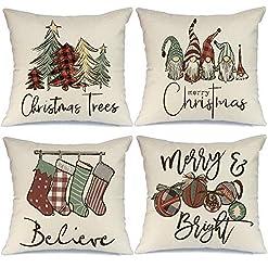 Christmas Farmhouse Home Decor AENEY Christmas Pillow Covers 18×18 Set of 4, Buffalo Plaid Tree Snow Gnome Rustic Winter Holiday Throw Pillows… farmhouse christmas pillow covers