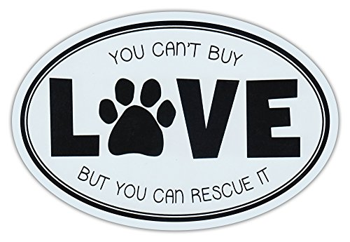 Oval Car Magnet - Can't Buy Love, But Can Rescue It - Rescue Dogs Magnetic Bumper (Oval Car)