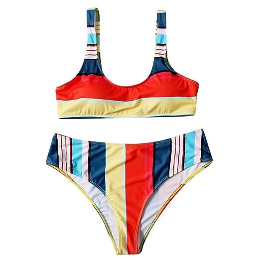 7de3943732d Amazon.com: Lookvv Women Two Piece Swimsuits Brazilian Bottom Padded Top  Plunge Bikini Set Rainbow Striped Swimwear: Clothing