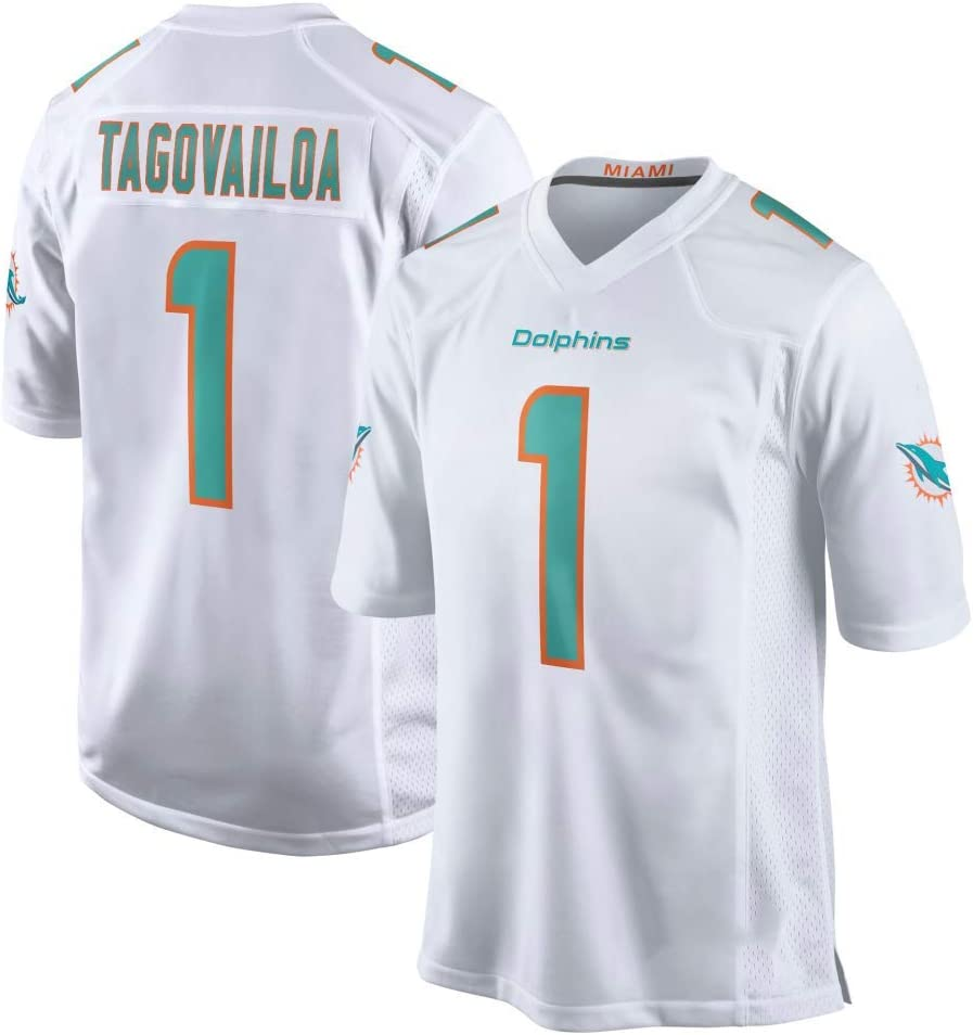 Maillot de Football T-Shirt Sport Jersey Homme Miami Dolphins # 1 Tua Tagovailoa Maillot de Football Version Broderie T-Shirt /à Manches Courtes Sport Top Jersey