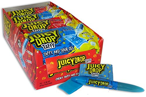 Bazooka New Strawberry Lemonade Juicy Drop Assorted Flavors Chewy Taffy and Sour Gel 2.36 Ounce 16 Pack ()