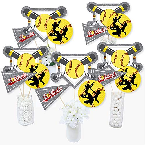 Grand Slam - Fastpitch Softball - Birthday Party or Baby Shower Centerpiece Sticks - Table Toppers - Set of 15 ()