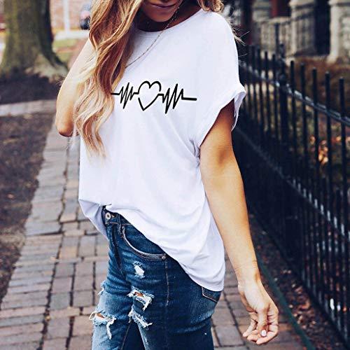 Bianco Magliette Stampata Estive Donna Shirt Corte Corte Maniche T A divertenti Moda Ragazza 4 Manica Vintage Da Cuore Panpany Tumblr Maglietta XwCfqnHw