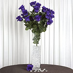 Efavormart 96 Extra Large Artificial Roses Buds Bushes for DIY Wedding Bouquets Centerpieces Party Home Decorations - Purple 29