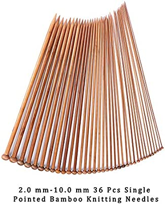 36 Pcs Single Pointed Bamboo Knitting Needles for Handmade Creative DIY GIEMSON Knitting Needles Set 18 Pairs Bamboo Circular Knitting Needles with Colored Tube