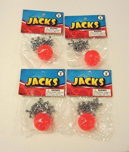 4 SETS OF METAL STEEL JACKS WITH SUPER RED RUBBER BALL GAME CLASSIC TOY KIDS ()