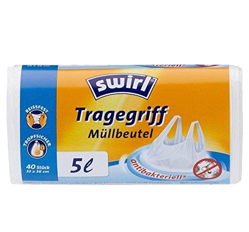Swirl 5 l Tragegriff Müllbeutel, 4er Pack (4 x 40 Stück)