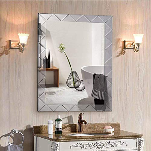 Tangkula Wall Mirror Beveled Mirror Rectangle Bathroom Home Decor Vanity Mirror 21.5