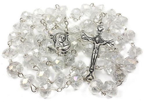 Catholic Rosary White Clear Crystal Beads Necklace with Holy Soil Medal and Metal Cross Communion Rosary Nazareth Store Velvet Gift Bag ()