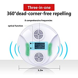 HappyHapi pest repeller ultrasonic pest control-Pressure Wave& Optical Repelling Function Pest Deterrent Control Chaser Mouse Mice Rats Bats Cockroaches ,Eco-Friendly, Human & Pet Safe
