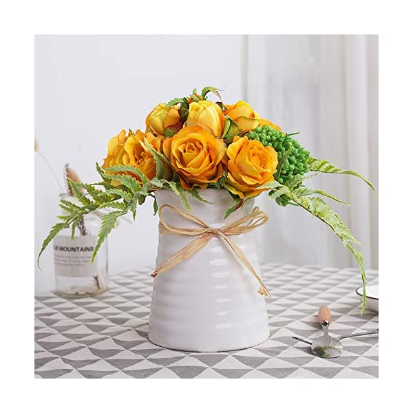Yuyao Artificial Flowers Rose Bouquets With Vase Fake Silk Flower With Ceramic Vase Modern Bridal Flowers For Wedding Home Table Office Party Patio Decoration Sunset Silk Flower Arrangements