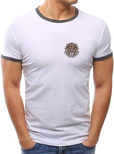 MEIbax Verano Modelos explosivos Ocio Cuello Redondo Color sólido Imprimiendo Cómodo Algodón Slim Fit Hombre Camiseta Sudadera Camisa Manga Corta T-Shirt Hombre básica Suave Cómodo Tops Blusa Hombre: Amazon.es: Ropa y accesorios