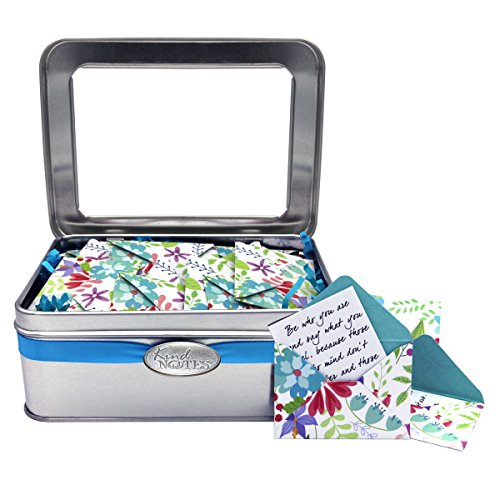 KindNotes Tin Keepsake Gift Box of Messages for Him or Her Birthday, Anniversary, Just Because | Romantic Long Distance Relationship Messages - Fresh Cut Floral