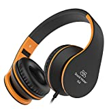 Headphones, Sound Intone Foldable Headphones with Microphone and Volume Control, On-ear Wired Headset for iphone and Android Devices (Black/orange)