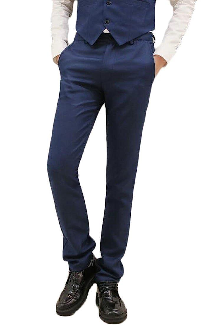 Frieed Men Formal Stretchy Stylish Pockets Flat-Front Business Dress Pants