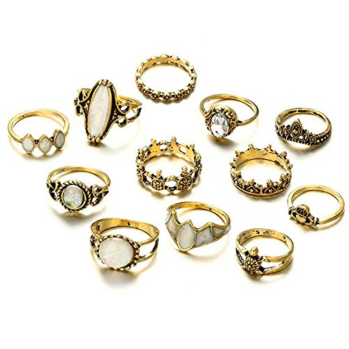 Wenyujh Retro Rings Fashion Rings Hollow Carved Flowers Joint Knuckle Rings Sets -