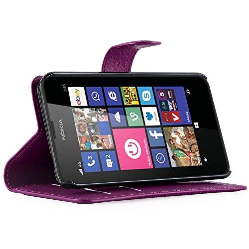 Cadorabo - Funda Nokia Lumia 520 Book Style de Cuero Sintético en Diseño Libro - Etui Case Cover Carcasa Caja Protección (con función de suporte y tarjetero) en AZUL-PASTEL VIOLETA-DE-MANGANESO