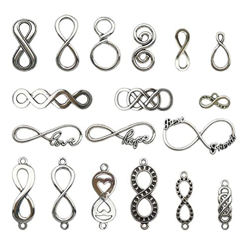 (Youdiyla 100g ∞ Infinity Charms Collection - Antique Silver Infinity Connector Link Symbol Rope Friend Love 8 Shape Lucky Symbols Metal Pendants for Jewelry Making DIY Findings (HM16))