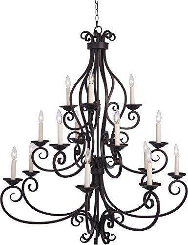 Maxim 12219OI Manor 15-Light Chandelier, Oil Rubbed Bronze Finish, Glass, CA Incandescent Incandescent Bulb , 60W Max., Damp Safety Rating, Standard Dimmable, Glass Shade Material, 672 Rated (Manor Oil Rubbed Bronze Chandelier)