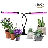 [2018 Upgraded]18W Timer Grow Lights for Indoor Plants/Grow Lamps for Seedlings, Aitere Dual Head 36 LED Chips with Red/Blue Spectrum,Adjustable Gooseneck, 3/6/12H Timer, 5 Dimmable Levels