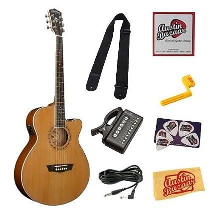 Amazon.com: Washburn wmj11sce Mini Jumbo guitarra Cutaway ...