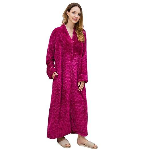 Womens Mens Flannel Robe Long Sleeve Soft Zip-Front Bathrobe Sleepwear Plus  Size Long Night 9bddd981c