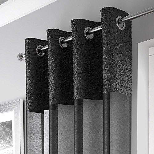 Cheap Mirabel Elegant Crushed Sheer Window Curtain Panel with Eyelet Grommet Top 55″ Wide x 90″ Drop Black