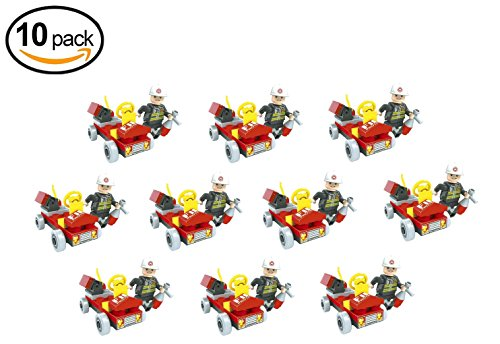 Brickland Party Favors 10 Mini Building Block Fire Vehicle With Figure, Bulk Pack Stocking Stuffers, Birthday Gift For Kids Birthday Parties (Party Favors Fire)