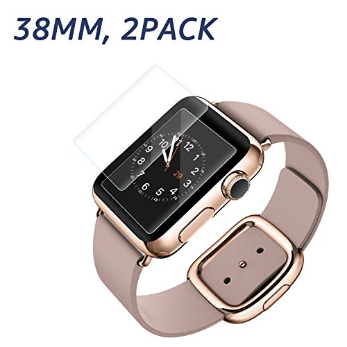 Apple Watch 38mm Screen Protector (Series 1 / Series 2/ Series 3), Bestfy Tempered Glass Screen Protector [Scratch Resistant] [Anti-Bubble] for Apple Watch [2 Pack] Photo #3