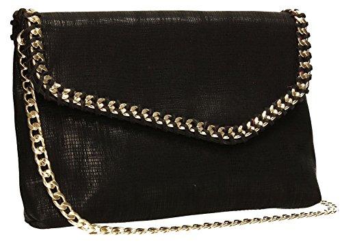 Stella Chain Detail Envelope Metallic Womens Party Prom Ladies Clutch Bag - Black
