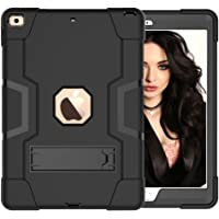 GoYi Funda iPad 10.2 2019 (7th Generation, Model-A2200/A2197/A2198), Carcasa Case Estuche 360° Protección/Silicona + PC 3-In-1/Tough Armor/Soporte para iPad 10.2 2019-Negro/Negro