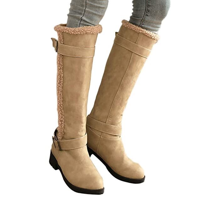 1ed76e1f61f Amazon.com  Lurryly❤Women s Fashion Winter Warm Knee High Boots Ankle Boot  Classic Bootie Shoes  Clothing
