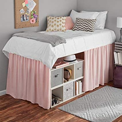 Mainstays Extra Long Extended Dorm Bed Skirt (White) Mainstays Co
