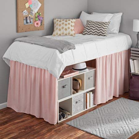 Mainstays Extra Long Extended Dorm Bed Skirt (Pink)