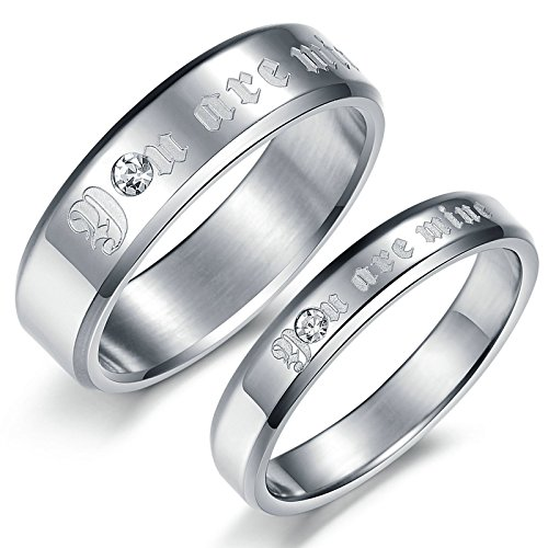 2 x Stainless Steel Rings for Women Rings Engraved You Are Mine Silver Rings Women Size: 9 & 9 (Silver Mine Crown)