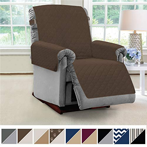 MIGHTY MONKEY Premium Reversible Couch Slipcover, Seat Width to 28 Inch Furniture Protector, 2 Inch Elastic Strap, Washable Slip Cover, Protect from Kids, Dogs, Cats, Pets, Recliner, Chocolate Taupe
