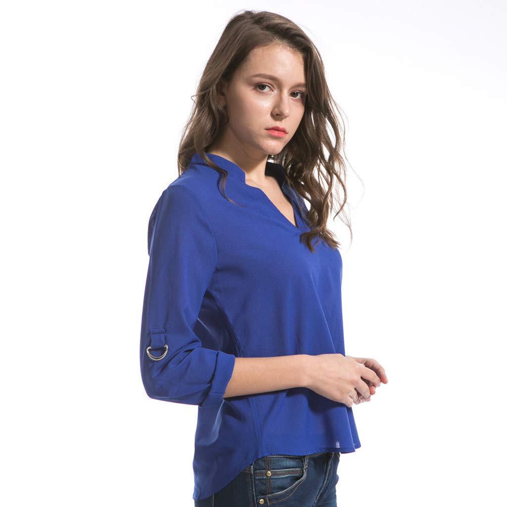 Keliay Cute Womens Tops Summer,Women Fashion S-6XL Long Sleeve Chiffon Shirt Tops V-Neck Casual Blouse Blue by Keliay (Image #4)