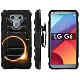 LG G6 Armor Case [Mobiflare] [Black/Black] Blitz Armor Phone Case with Holster - [Solar Eclipse]