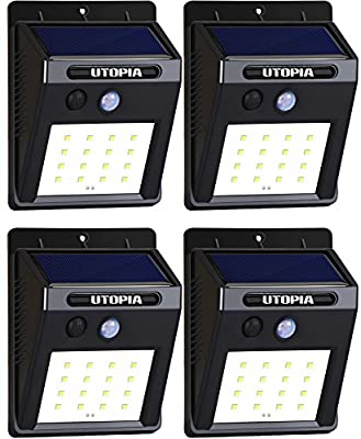 Utopia Home - 16 LED Wireless, Waterproof and Motion Sensor Outdoor Solar Lights For Patio, Deck, Yard, Garden, Driveway - Auto On/Off (4-Pack)