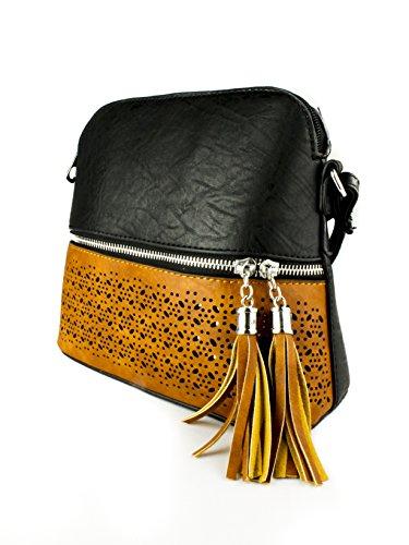 Shoulder Quality Print Women's Tassel Decorative Handbag Faux Hight Zip Black Mini Pocket Crossbody Leather PnP0qfUx
