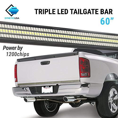 60 TRIPLE 1200 LED Tailgate Light Bar w/Sequential Amber Turn Signal - 1,200 LED Solid Beam - Weatherproof No Drill Install - Full Function Reverse Brake Running 2yr Warranty