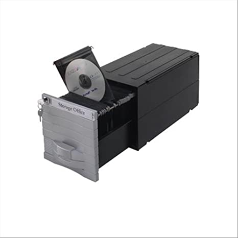 Exponent 34600 - Caja para Guardar CD y DVD (hasta 160), Color Plateado y Negro