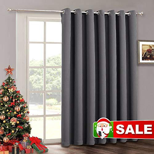 Blackout Patio Door Curtains Bedroom - Home Decor Grommet Curtain Thermal Insulated Vertical Blind Window Treatment Drapes for Living Room Sliding Glass Door, Wide 100 x Long 84 inch, Grey (Patio For Doors Glass Sliding)