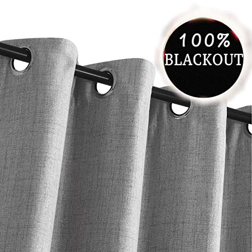 Rose Grommet (Primitive Linen Look,100% Blackout Curtains(with Liner)Linen Blackout Curtains& Blackout Thermal Insulated Liner,Grommet Curtains for Living Room/Bedroom,Burlap Curtains-Set of 2 Panels (50x96 Grey))