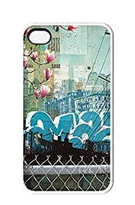 iphone 4/4s case,City Peach Blossom [Non-Slip] [Exact-Fit] Case Slim **NEW** [Fit Series] [Thin Fit] [Smooth Black] Hard Case - ECO-Friendly Packaging - Slim Case for iphone 4 / 4s,white